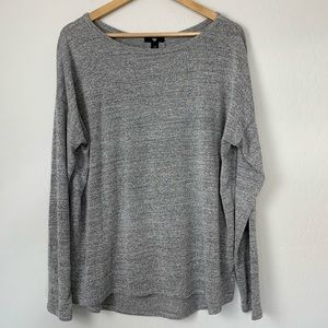 Gap Gray Sweater Knit Top with Back Pleat Sz XL